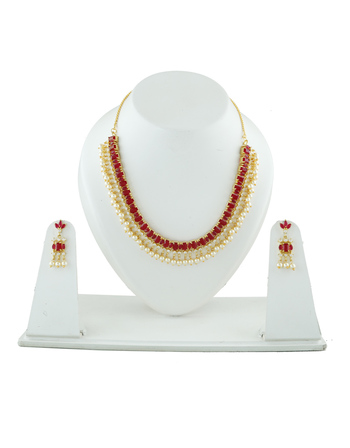 Maroon Colour Gold Finish Styled With Pearls Beads Necklace
