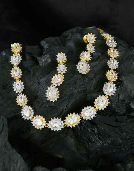 Gold Finish Floral Design Fancy Diamond Necklace Jewellery For Girls