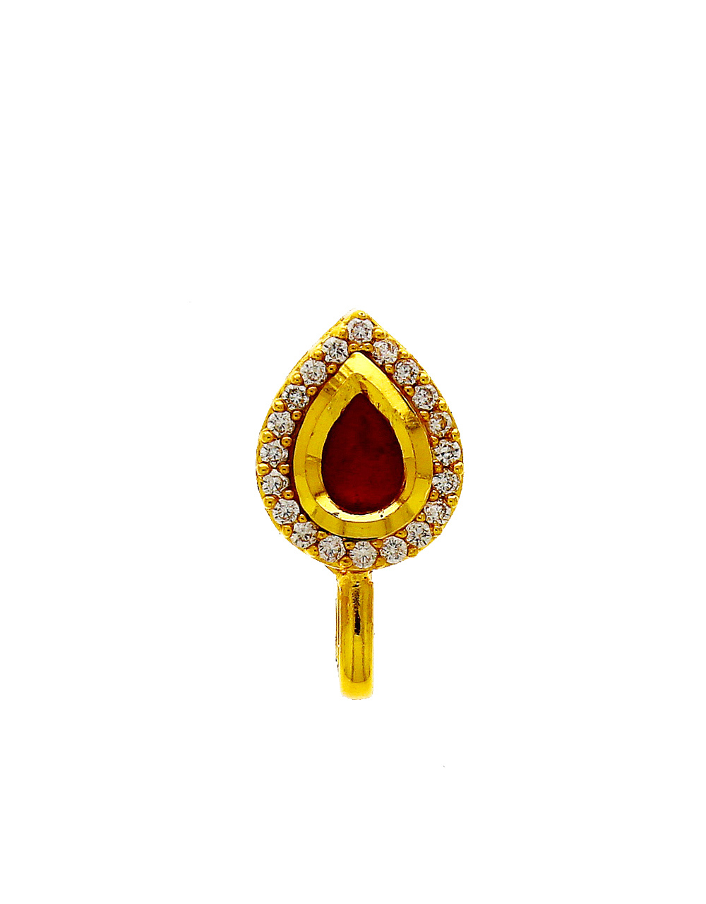 Red Colour Gold Finish American Diamond Nose Stud