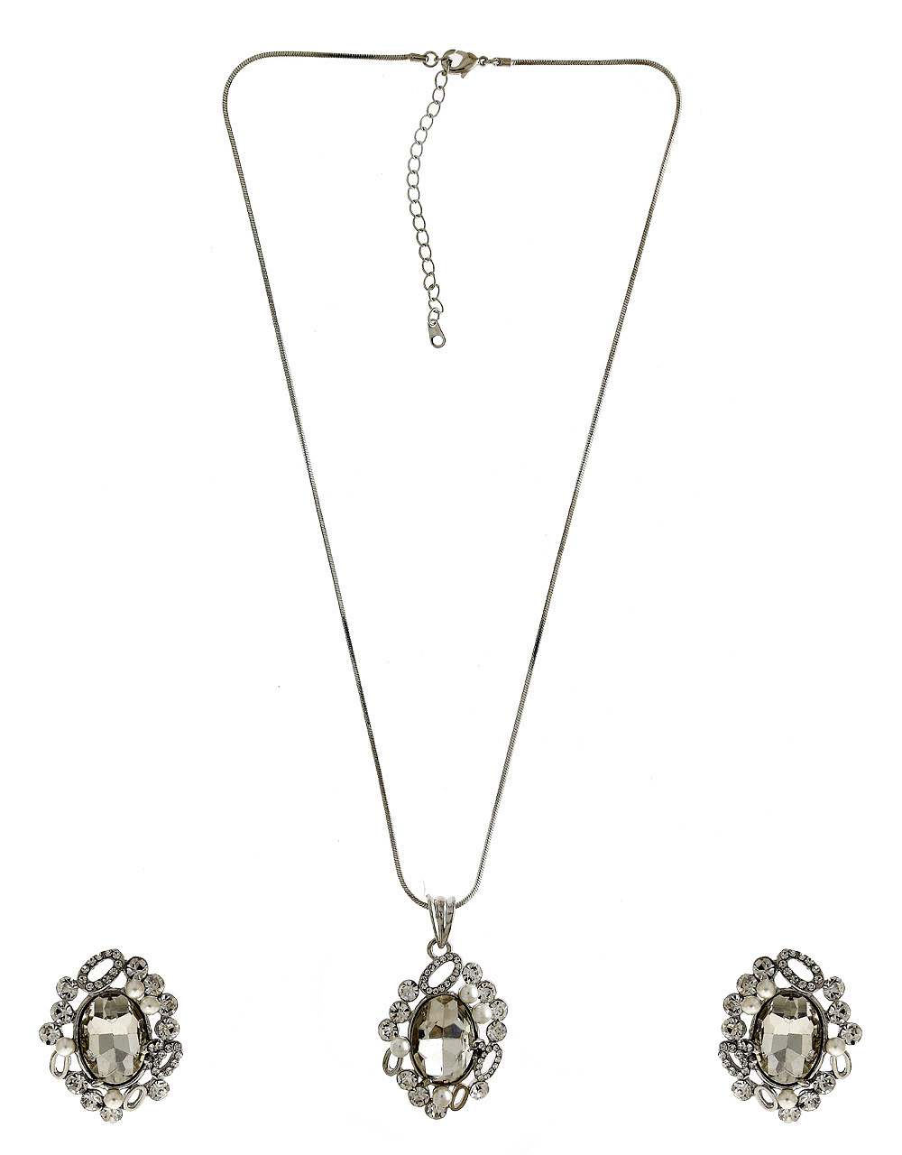 Floral Design Silver Finish Silver Finish Jewellery Pendant Set