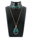 Green Colour Simple Gold Finish Pendant Set Jewellery