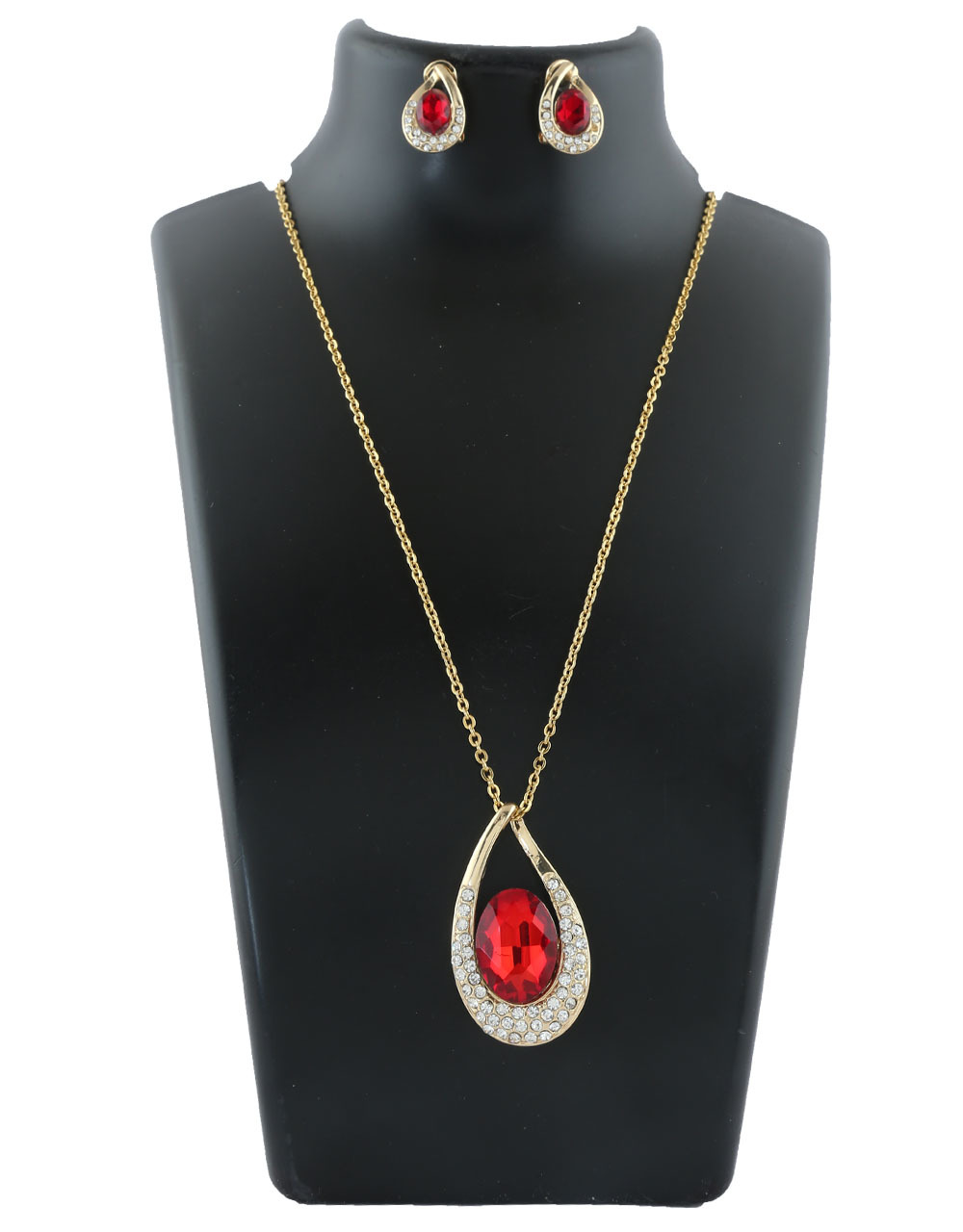 Red Colour Gold Finish Fasncy Pendant Set For Girls