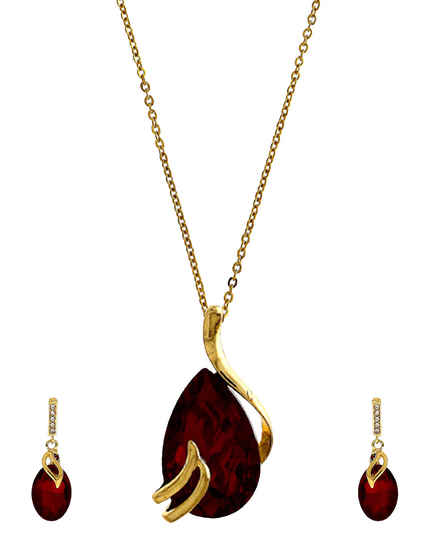 Simple Rani Colour Gold Finish Pendant Set