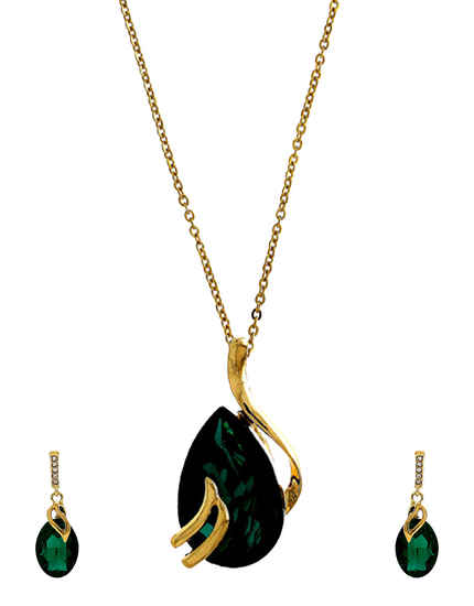 Green Colour Gold Finish Western Wear Jewellery