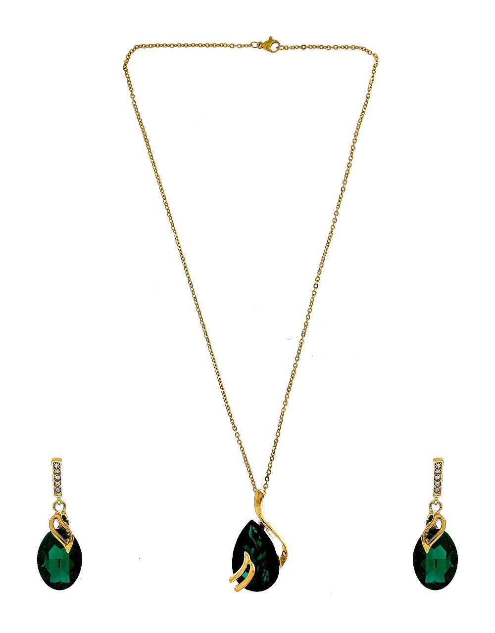 Green Colour Gold Finish Western Wear Jewellery