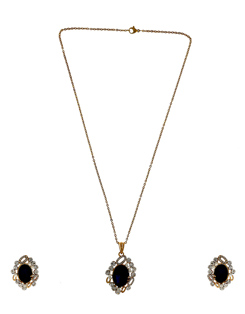 Blue Colour Gold Finish Pearls Styled Pendant Set For Girls