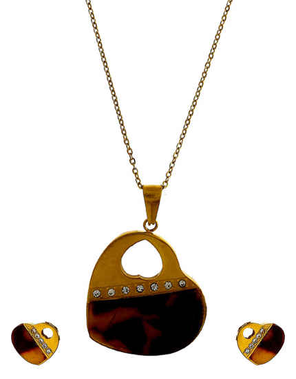 Brown Colour Gold Finish Fancy Chain Pendant Set