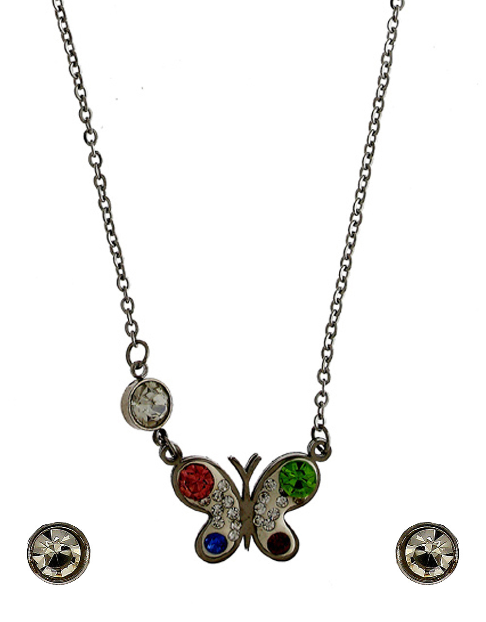 Silver Finish Butterfly Design Korean Necklace Jewellery
