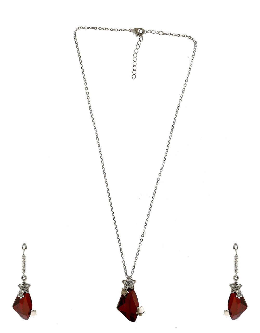 Silver Finish Red Colour Party Wear Jewellery Fancy