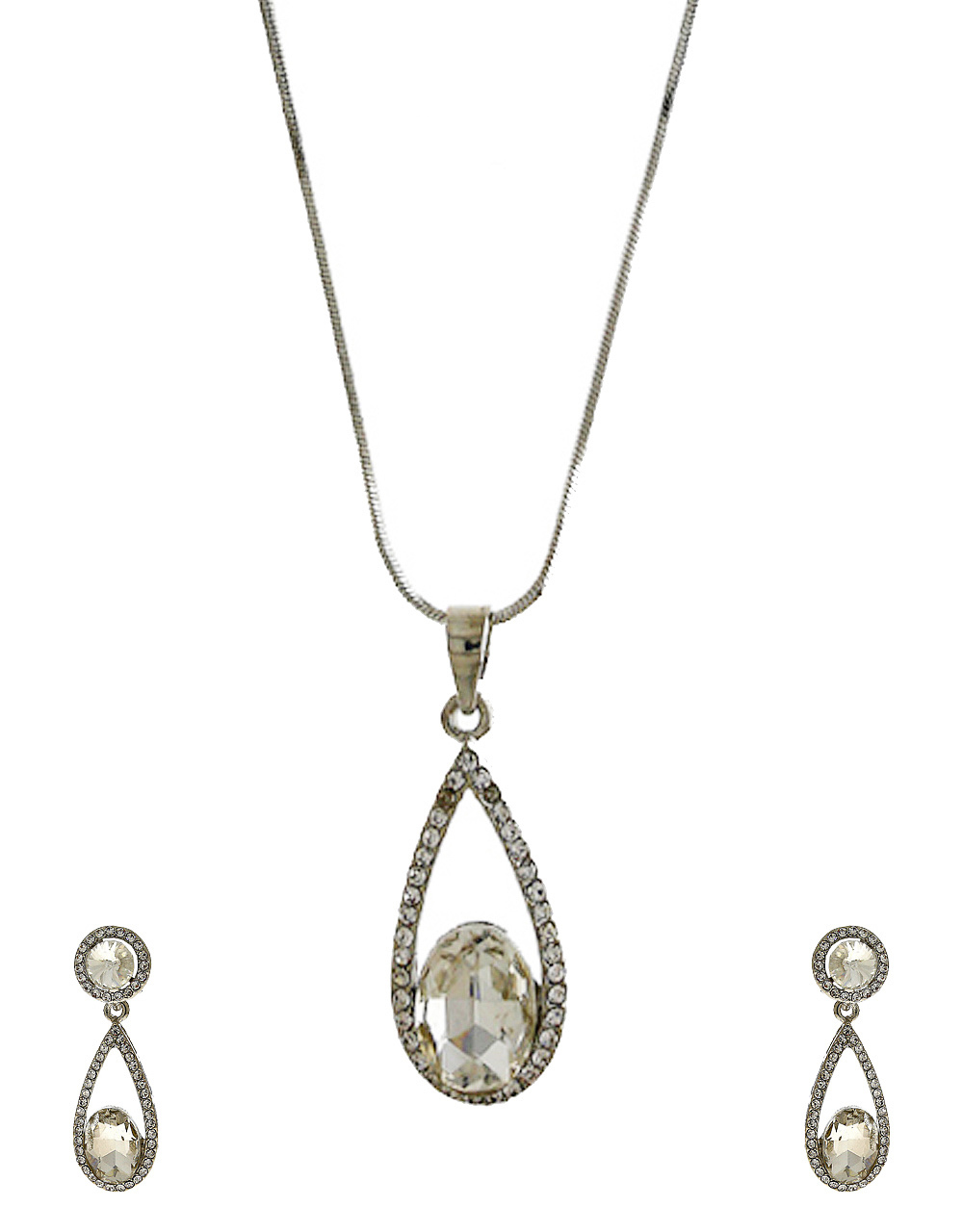 Silver Finish Party Wear Pendant Set For Girls