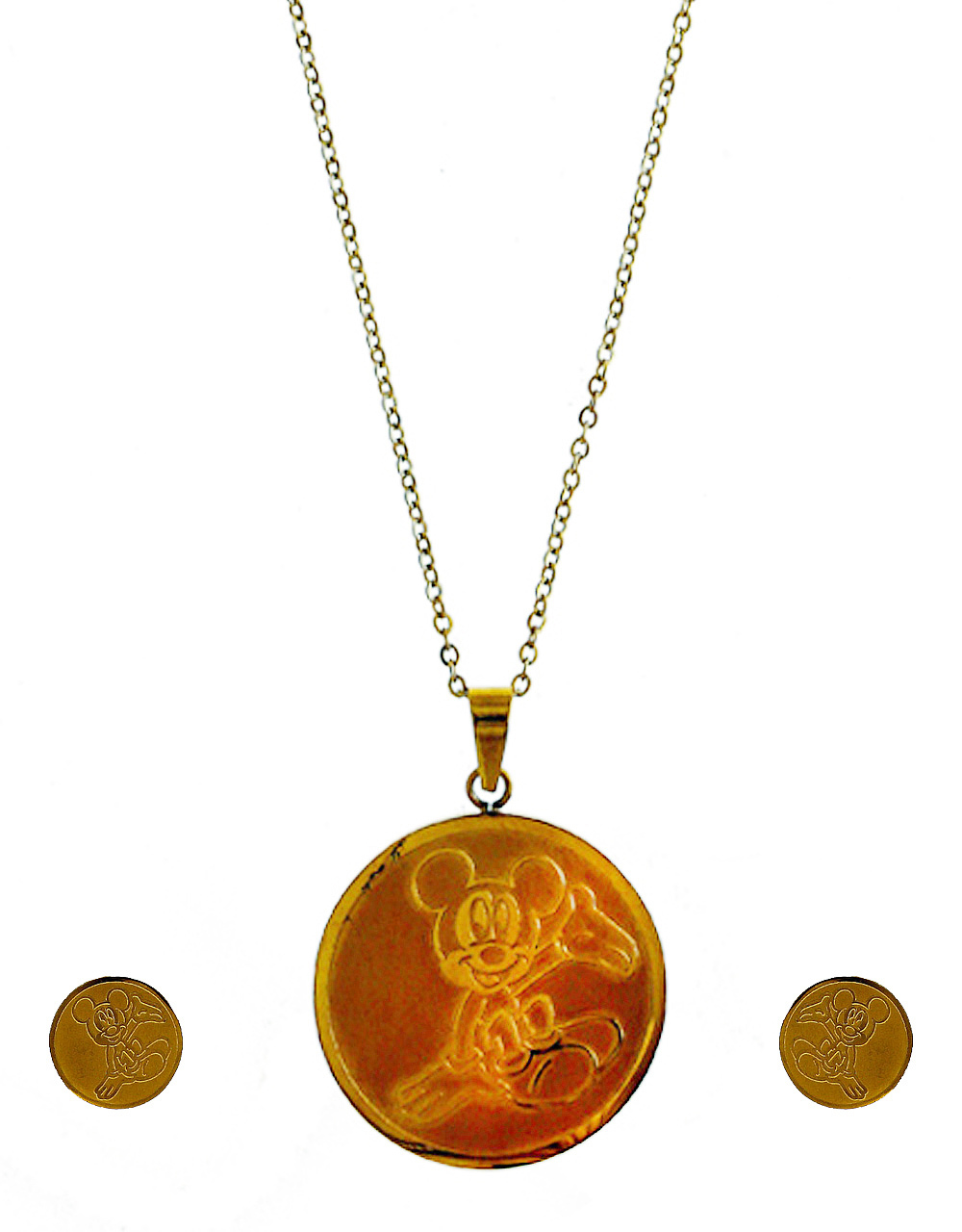Gold Finish Micky-Mouse Pendant Set For Girls