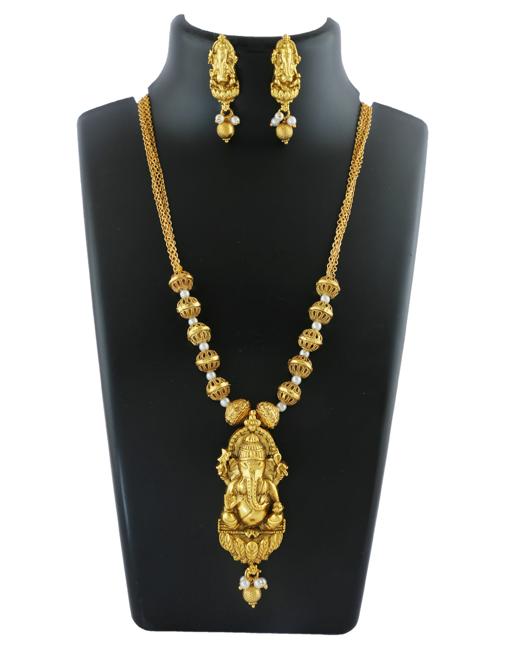 Simple Gold Finish Styled With Ganpati Pendant Set For Wedding