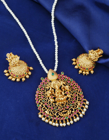 Multi Colour Temple Design Matte Gold Finish Pendant Set