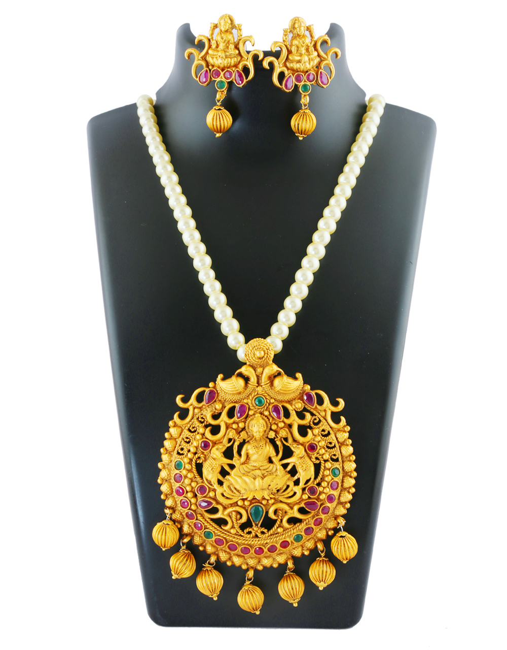 Multi Colour Fancy Matte Gold Finish Pendant Necklace Set