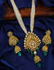 Antique Gold Finish Green Colour Kundan Necklace Moti Mala