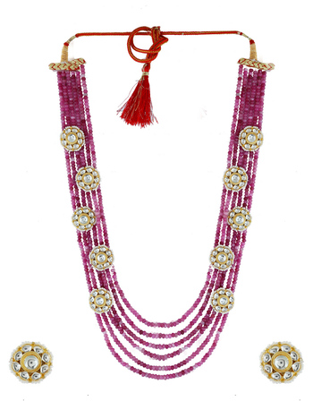 Pink Colour Gold Finish Styled With Beads Fancy Kundan Necklace