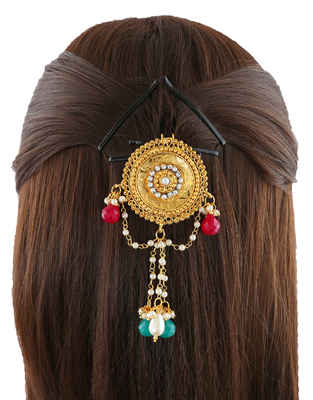 Round Shape Gold Finish Designer Hair Brooch For Women