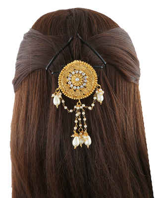 Very Classy Gold Finish Styled With Moti Fancy Hair Brooch