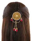 Red Colour Gold Finish Designer Hair Brooch For Girls