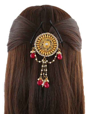 Red Colour Gold Finish Designer Hair Brooch For Girls