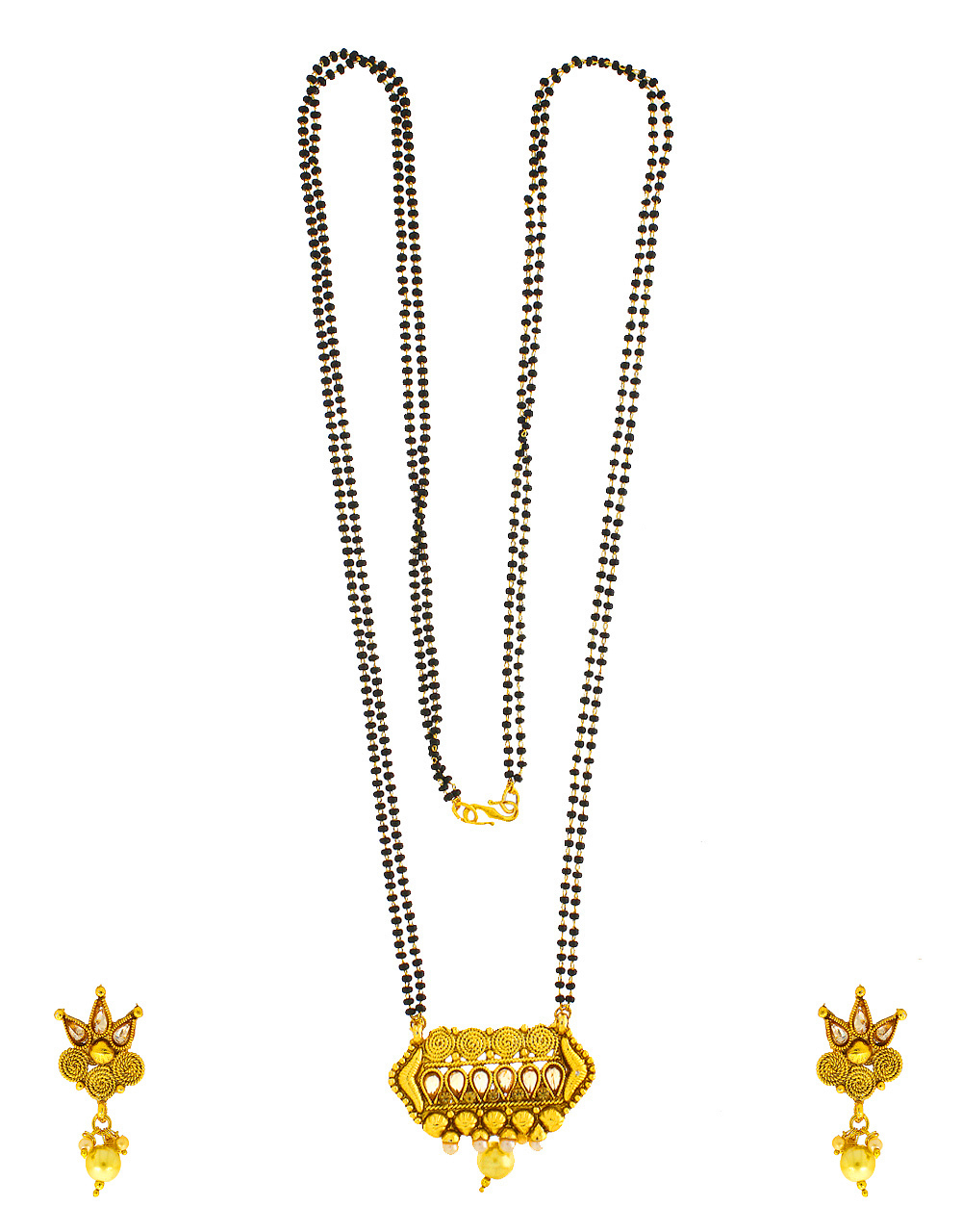 Fancy Gold Finish Styled With Pearls Beads Fancy Mangalsutra