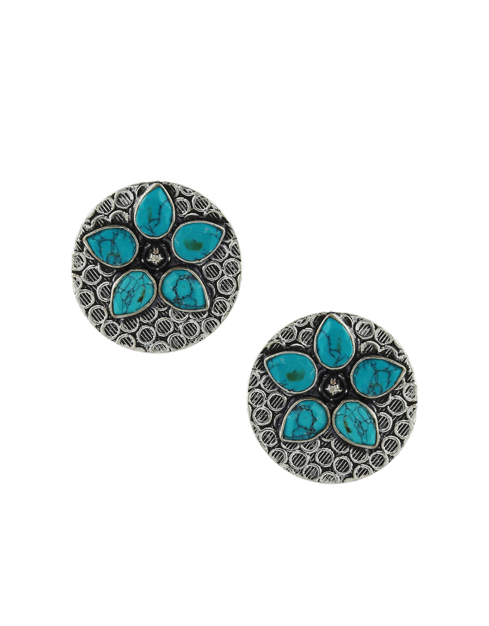 Oxidised Finish Silver Turquoise Colour Fancy Ear Tops