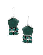 Green Colour Adorable Silver Fancy Earrings For Girls