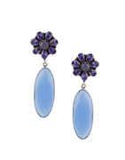 Oxidised Finish Purple Colour Fancy Floral Earrings