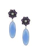 Blue Colour Silver Finish Fancy Silver Earrings