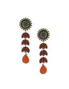 Orange Colour Oxidised Finish Stylish Earrings