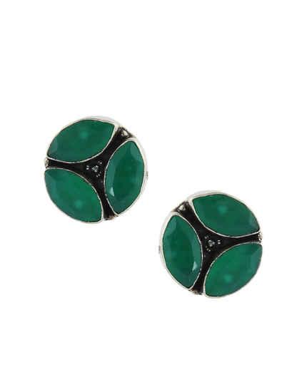 Green Colour Oxidised Finish Ear Tops Fancy