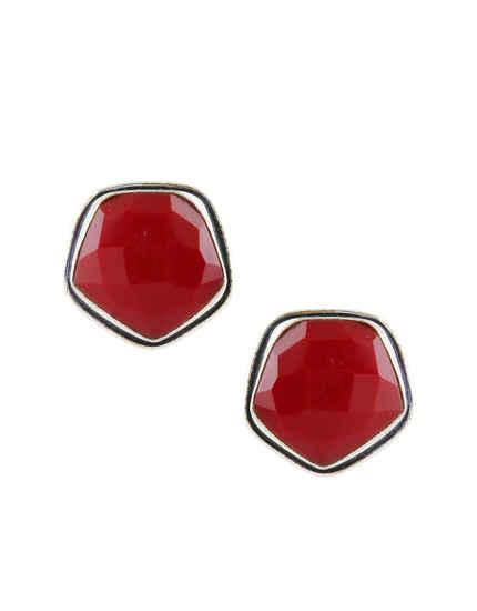 Red Colour Silver Finish Fancy Ear Tops Fancy