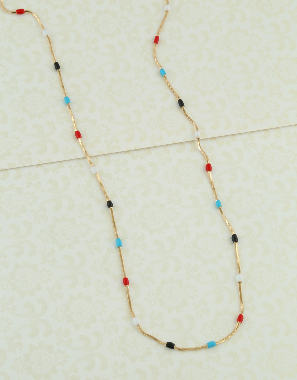 Multi Colour Gold Finish Beads Chain For Girls