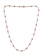 Red Colour Rose Gold Finish Fancy Chain For Girls