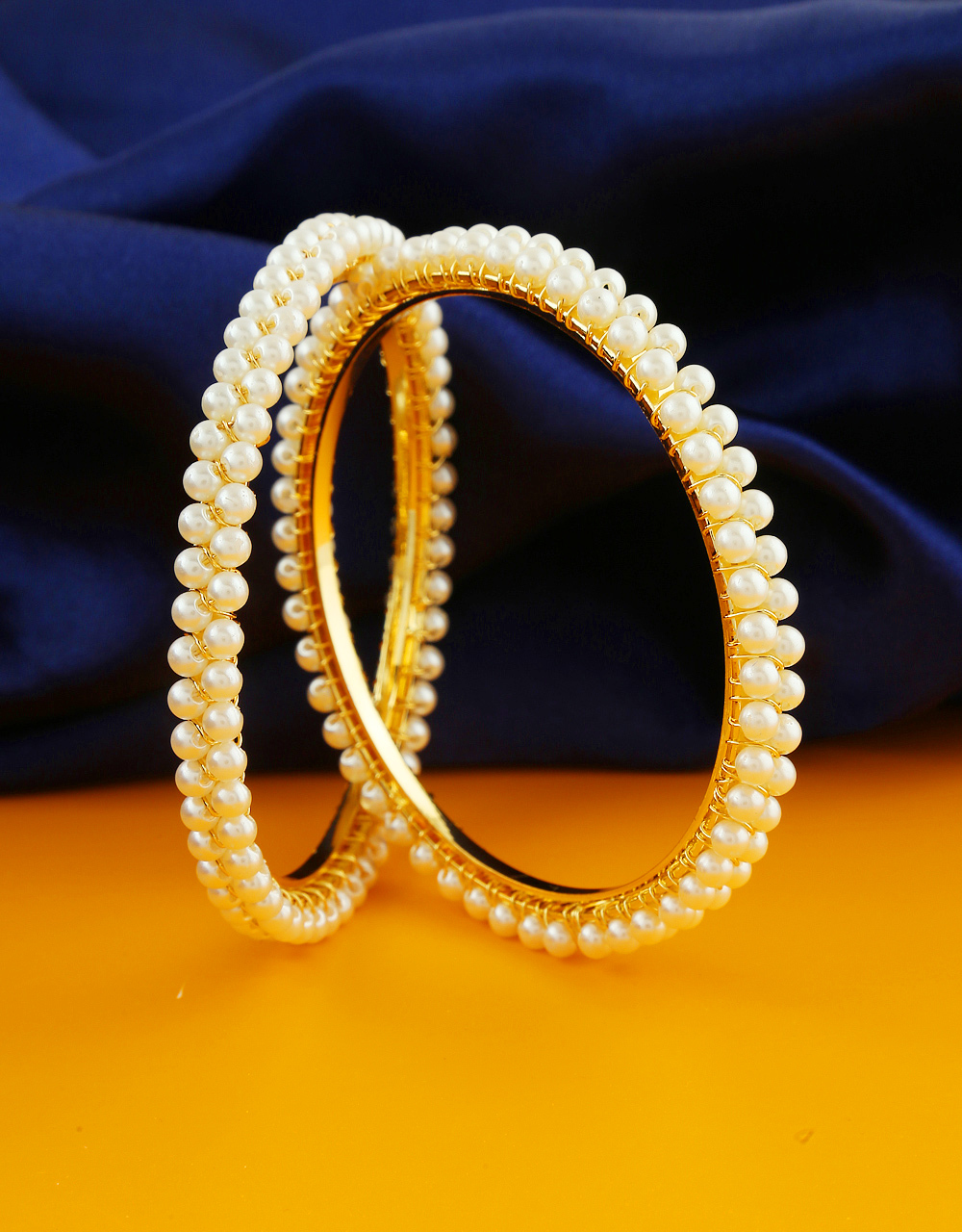 Gold Finish Bangles Styled With Pearls Beads Maharashtrian Jewellery