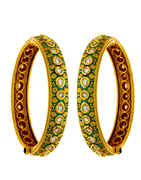Green Colour Gold Finish Kundan Bangles Kada