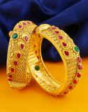 Multi Colour Matte Gold Finish Bangles For Weddings