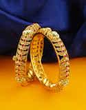 Pink Colour Gold Finish Leafy Design Adjustable Bangles