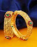 Antique Gold Finish Floral Design Fancy Adjustable Kada