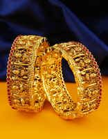 Maroon Colour Gold Finish Adjustable Bangles South Indian Jewellery