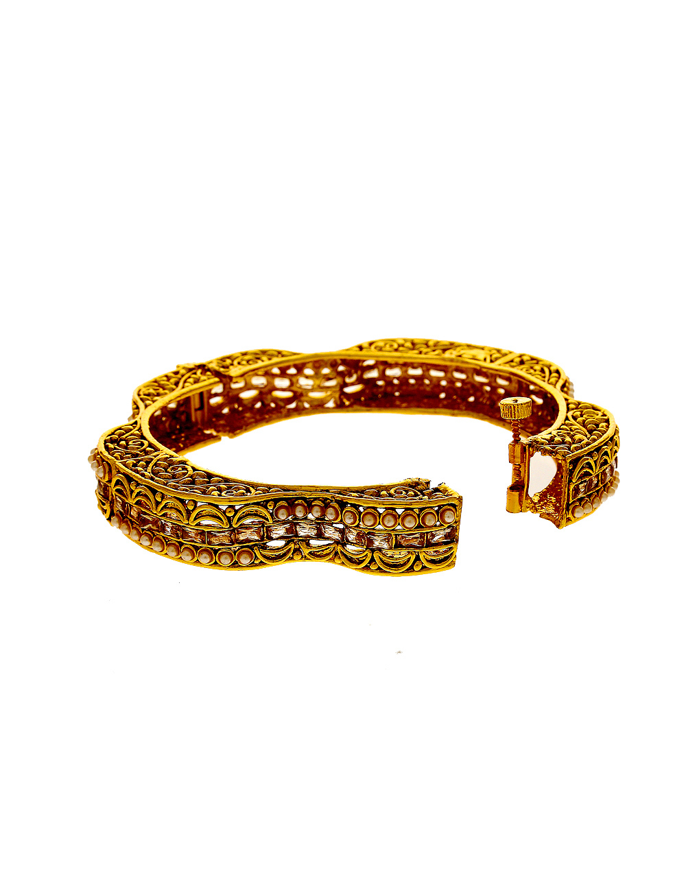 Antique Gold Finish Styled With Pearls Beads Fancy Bangles