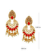 Red Colour Earrings Styled With Pearls Beads Fancy Earrings