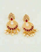 Maroon Colour Gold Finish Styled With Moti Earrings