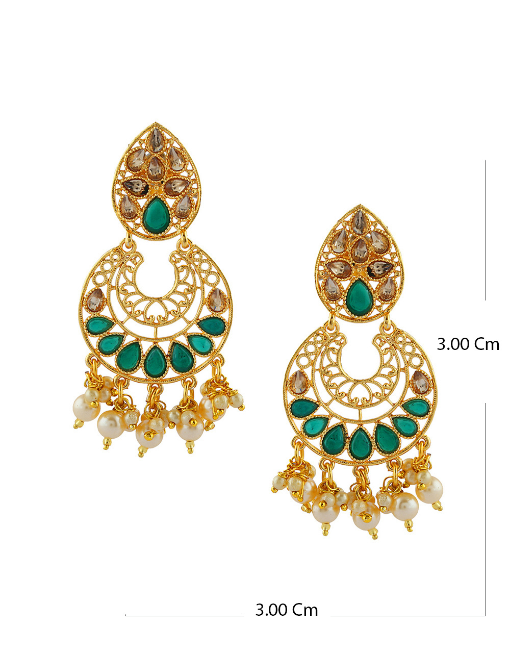 Green Colour Gold Finish Simple Pearls Styled Fancy Earrings