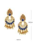 Blue Colour Gold Finish Fancy Earrings For Girls
