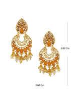 Designer Orange Colour Gold Finish Stunning Earring Fancy