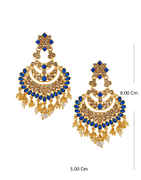 Blue Colour Gold Finish Fancy Stunning Earrings For Girls
