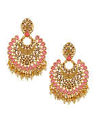 Pink Colour Gold Finish Pearls Styled Fancy Earrings