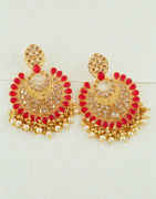 Red Colour Gold Finish Chanbali Earrings For Girls