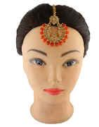 Orange Colour Gold Finish Beads Styled Mang Tikka